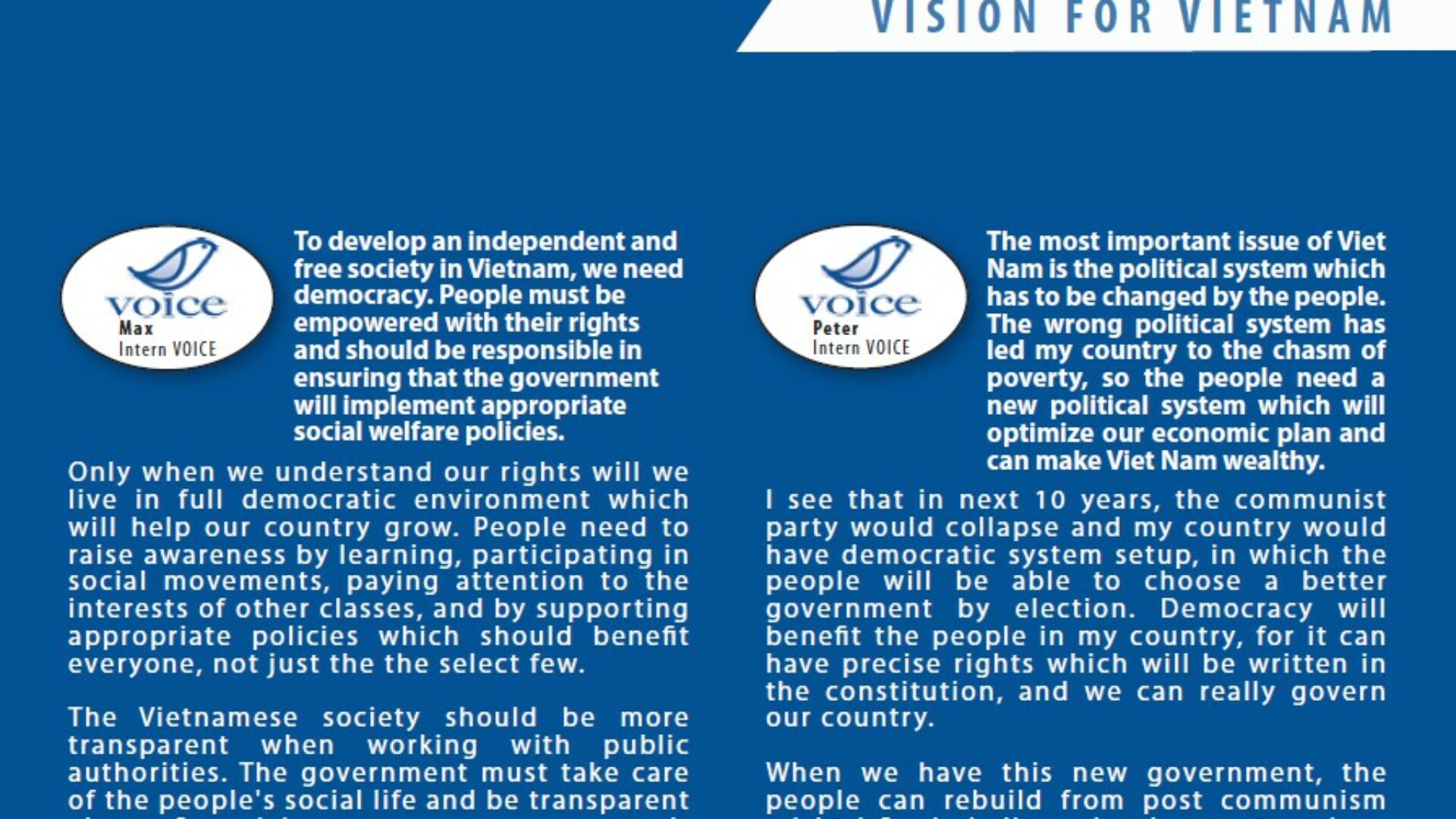 English Exercise: Vision for Vietnam