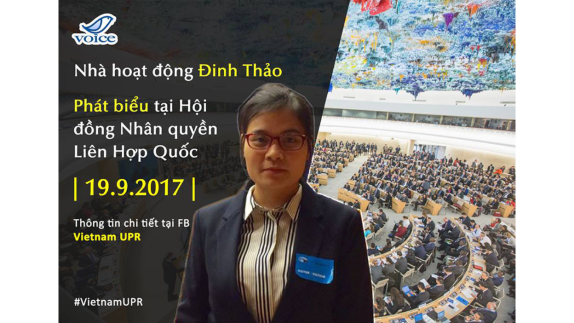 Vietnamese activist delivers remarks before the UN Human Rights Council