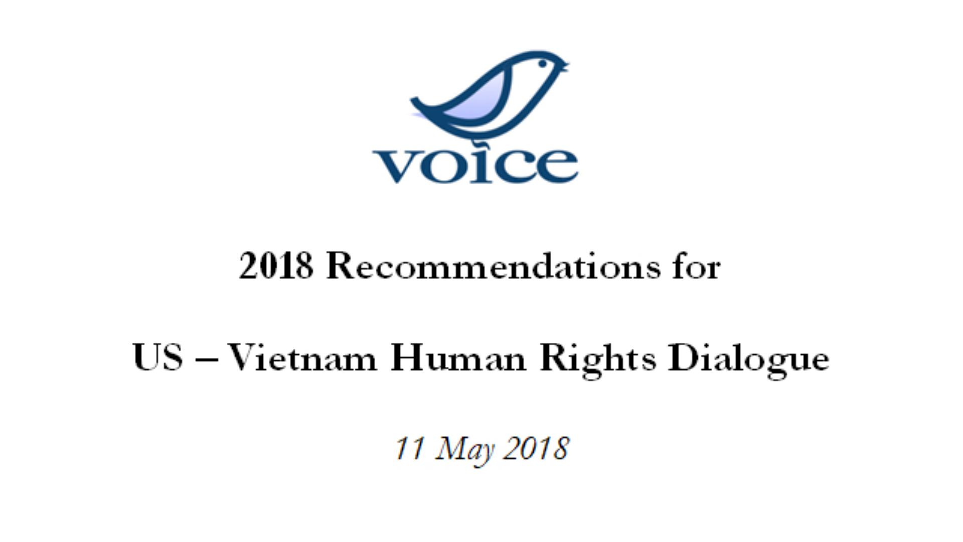 Các Khuyến nghị của VOICE cho Đối thoại Nhân quyền Hoa Kỳ – Việt Nam 2018