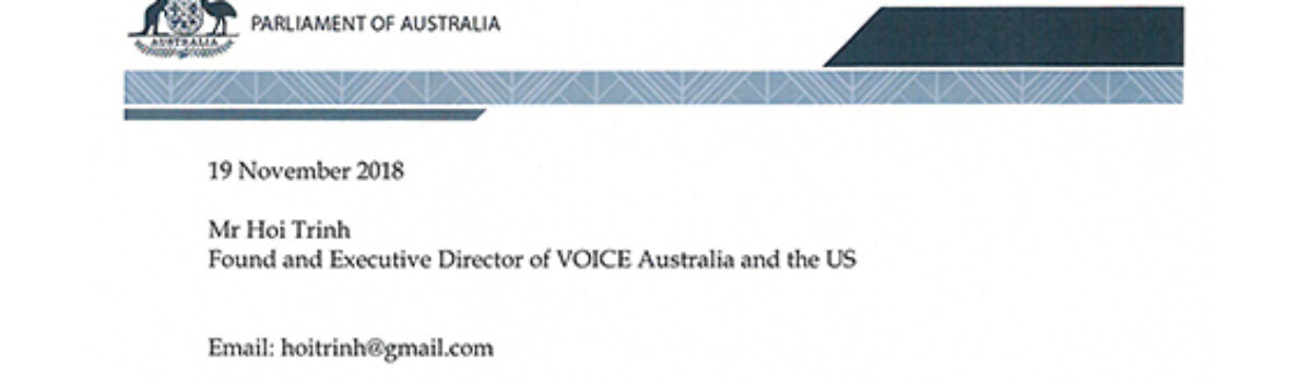 The Human Rights Subcommittee send Correspondence to VOICE about Human Rights issues in Vietnam