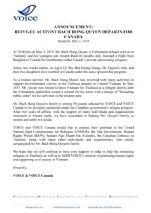 Announcement-refugee-activist-bach-hong-quyen-departs-for-CANADA_VIETNAM-VOICE