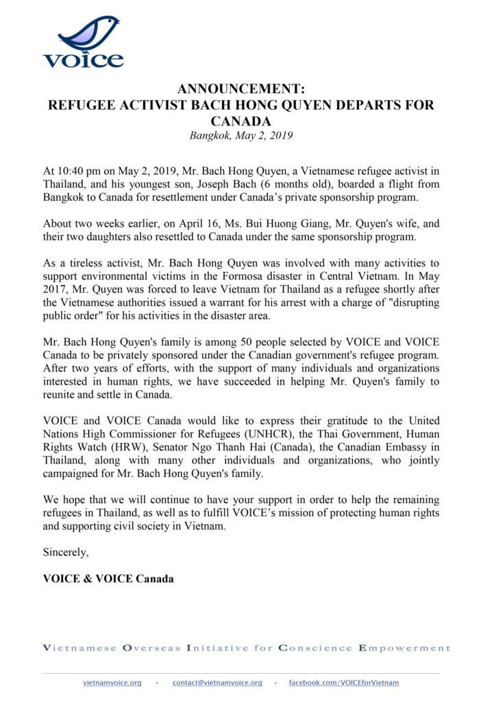 Announcement-refugee-activist-bach-hong-quyen-departs-for-CANADA_VIETNAM-VOICE